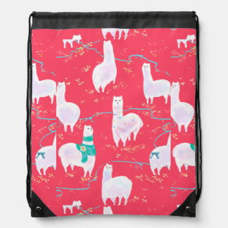 Cute llamas Peru illustration red background Drawstring Bag