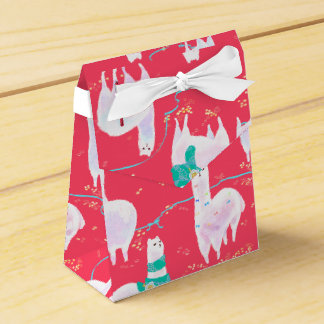 Cute llamas Peru illustration red background Favour Box