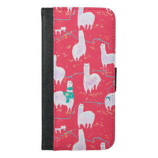 Cute llamas Peru illustration red background iPhone 6/6s Plus Wallet Case