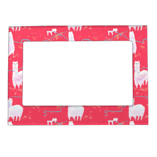 Cute llamas Peru illustration red background Magnetic Picture Frame