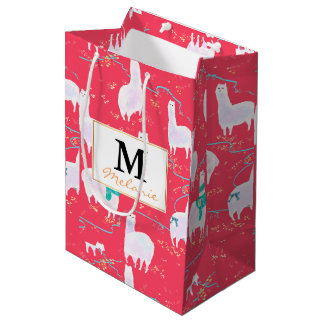 Cute llamas Peru illustration red background Medium Gift Bag