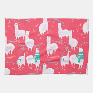 Cute llamas Peru illustration red background Tea Towel