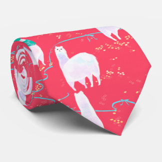Cute llamas Peru illustration red background Tie