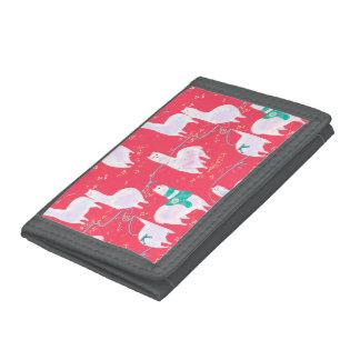 Cute llamas Peru illustration red background Tri-fold Wallet