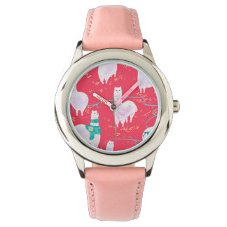 Cute llamas Peru illustration red background Watch