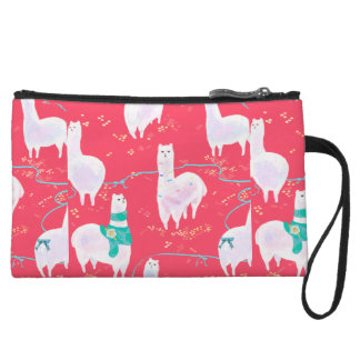 Cute llamas Peru illustration red background Wristlet
