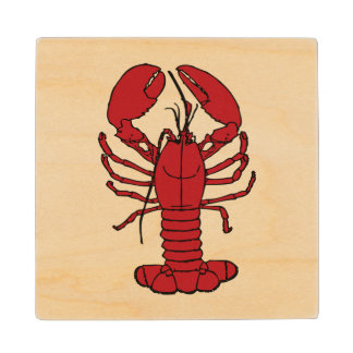 Cute Lobster Nautical beach   coaster wood