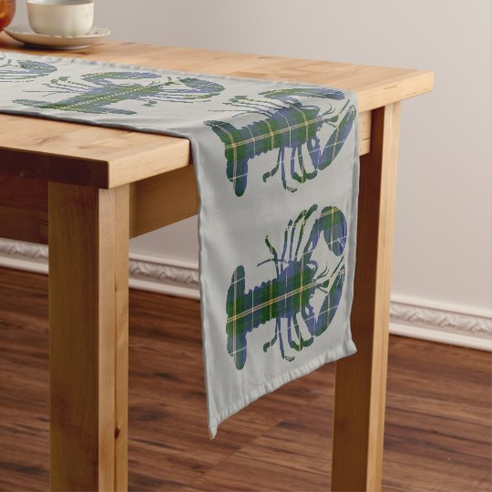 Cute Lobster Nautical grey table runner tartan