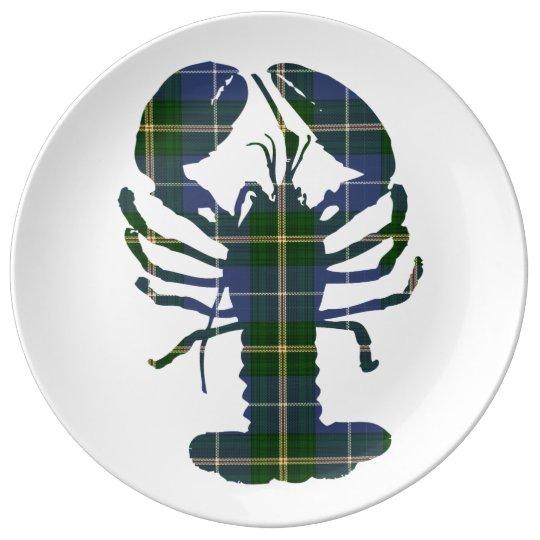 Cute Lobster tartan Nautical beach decor plate