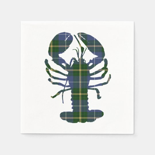 Cute Lobster tartan Nautical beach paper napkins