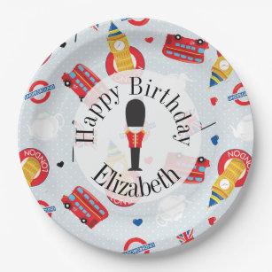 Cute London Theme Birthday Personalised Paper Plate