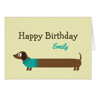 Cute Long Dachshund Illustration Card