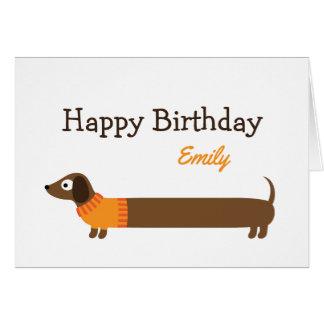 Cute Long Dachshund Illustration Card