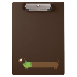 Cute Long Dachshund Illustration Clipboard
