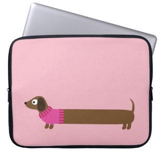 Cute Long Dachshund Illustration Laptop Sleeve