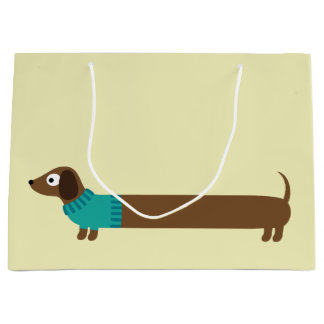 Cute Long Dachshund Illustration Large Gift Bag