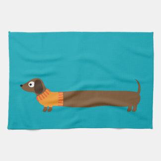 Cute Long Dachshund Illustration Tea Towel