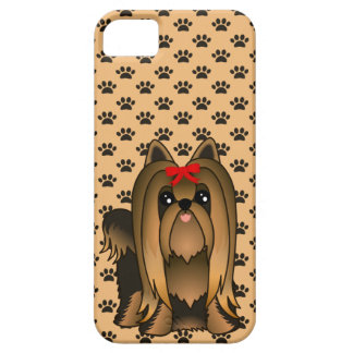 Cute Long Hair Yorkshire Terrier Puppy Dog iPhone 5 Cases