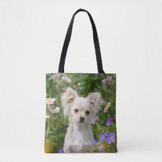 Cute long-haired cream Chihuahua Dog Puppy Shopper Tote Bag