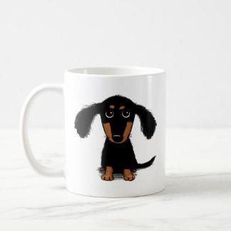 Cute Long Haired Dachshund Puppy Basic White Mug