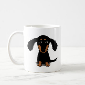 Cute Long Haired Dachshund Puppy Coffee Mug