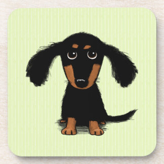 Cute Long Haired Dachshund Puppy Drink Coaster