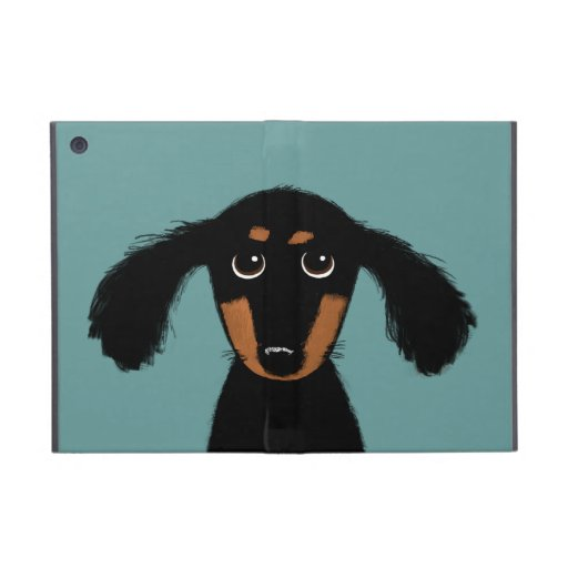 Cute Long Haired Dachshund Puppy Case For iPad Mini