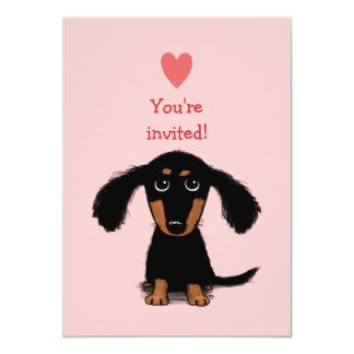 Cute Long Haired Dachshund Puppy Valentine's Party 13 Cm X 18 Cm Invitation Card