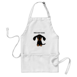 Cute Long Haired Dachshund with Custom Text Standard Apron