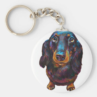 Cute Longhaired Dachshund Key Ring