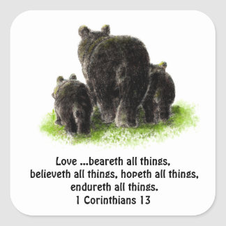 Cute Love Bears all things Quote 1Corinthians 13 Square Sticker