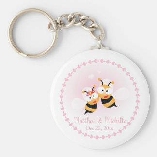 Cute Love Bee Couple Wedding Party Thank You Favor Key Ring
