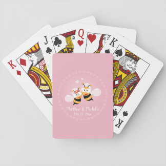 Cute Love Bee Couple Wedding Party Thank You Favor Playing Cards