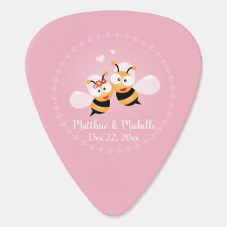 Cute Love Bee Couple Wedding Party Thank You Favor Plectrum