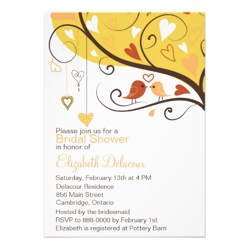 Cute Love Birds Autumn Bridal Shower Invitation