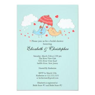 "Cute Love Birds Bridal Shower 5"" X 7"" Invitation Card"