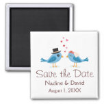 Cute love birds bride and groom save the date refrigerator magnet