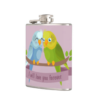 Cute Love Birds custom text flask