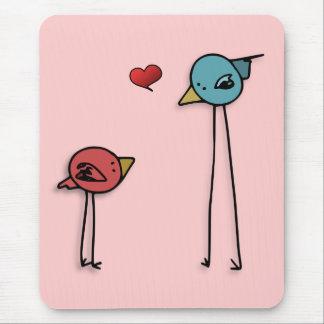 Cute love birds heart cartoon valentine lovers mouse pad