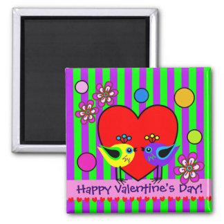 Cute Love Birds & Heart Valentine's day magnet