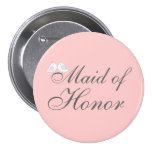 Cute love birds Maid of Honor Pinback Button
