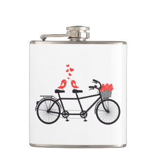 Cute love birds on bicycle flask