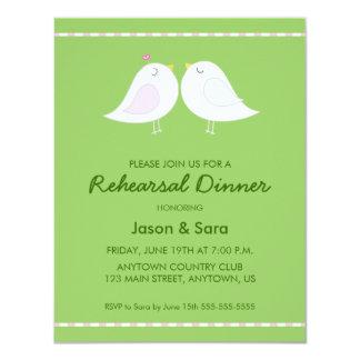 Cute Love Birds on Green Rehearsal Dinner 4.25x5.5 Paper Invitation Card