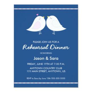 Cute Love Birds on Navy Blue Rehearsal Dinner 4.25x5.5 Paper Invitation Card