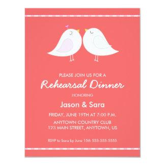 Cute Love Birds on Red Rehearsal Dinner 4.25x5.5 Paper Invitation Card