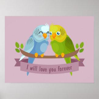 Cute Love Birds poster
