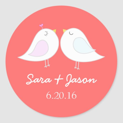 Cute love birds wedding sticker
