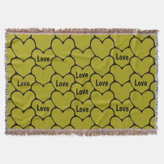 Cute Love Black and Gold Hearts Pattern Throw Blanket