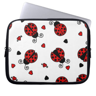 Cute Love Bugs Red Ladybugs Laptop Sleeve