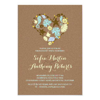 cute love heart beach engagement party invitation